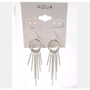 AQUA SILVER STICK FAN EARRINGS